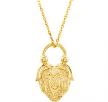 14k Gold Victorian Style Heart Design Pendant with Chain