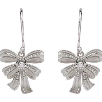 Victorian Style Sterling Silver Bow Design Dangle Earrings