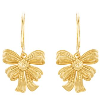 14k Gold Victorian Style Bow Dangle Earrings