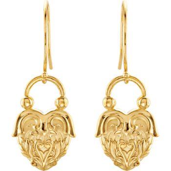 14k Gold Victorian Style Heart Design Dangle Earrings