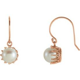 14k Gold Vintage Style Freshwater Cultured Pearl Crown Earrings