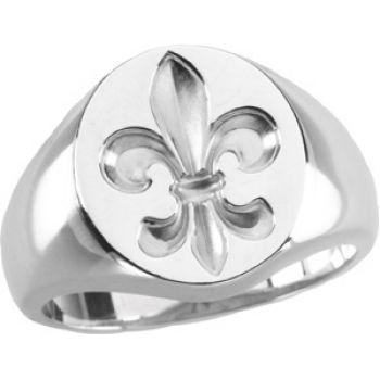 Gents Vintage Style Sterling Silver Fleur de Lis Signet Ring
