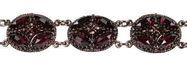 Sterling Victorian Style Rose Cut Bohemian Garnet Fancy Oval Shaped Cluster Bracelet