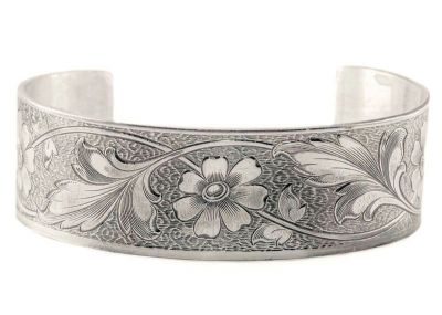 Victorian Style Sterling Silver Fl Engraved Cuff Bracelet