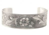 Victorian Style Sterling Silver Floral Engraved Cuff Bracelet