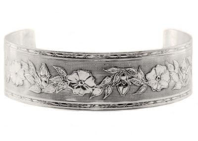 Victorian Style Sterling Silver Floral & Foliate Engraved Cuff Bracelet
