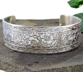 Antique Style Sterling Silver Engraved Floral Cuff Bracelet