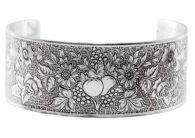 Victorian Style Sterling Silver Engraved Grapes & Fruit Cuff Bracelet