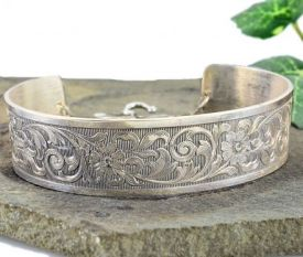 Antique Style Sterling Silver Floral & Foliate Engraved Cuff Bracelet
