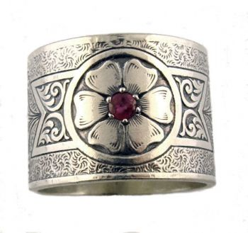Victorian Style Sterling Silver Engraved Fl Ruby 15 7mm Wide Band