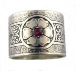 Victorian Style Sterling Silver Engraved Floral & Ruby 15.7mm Wide Band