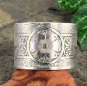 Antique Style Sterling Silver Engraved Floral 15.7mm Wide Band, Sz 9