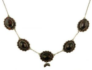 Sterling Antique Style Rose Cut Garnet Necklace As Seen in 'The Life Before Her Eyes'