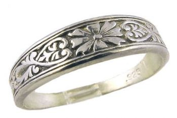 Antique Style Sterling Silver Flower & Foliate Ring / Cigar Band