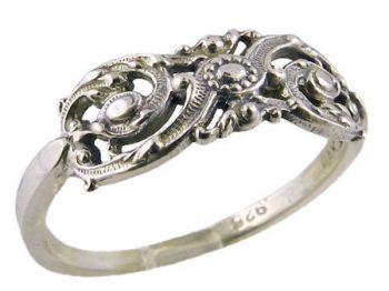 Antique Style Sterling SiIver Filigree Scroll & Flower Ring