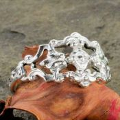Antique Style Sterling Silver Filigree Fleur de Lis, Flower & Scrollwork Ring