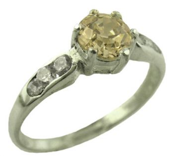 Sterling Silver Contemporary .50ct Light Champagne Colored European Cut Cubic Zirconia Ring
