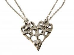 Antique Style Jasmine Spoon Pattern Heart Necklace