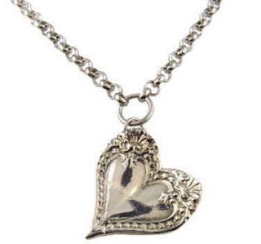 Antique Style Monterey Spoon Pattern Heart Necklace