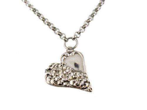 Antique Style Charlotte Spoon Pattern Heart Necklace