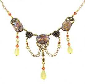 Victorian Style 'Opal' Glass, Peridot & Hyacinth Crystal Festoon Necklace