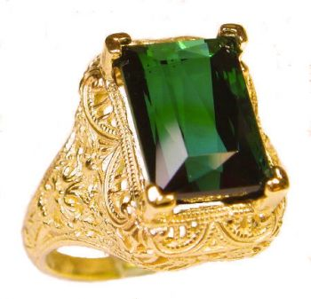 Antique Style Filigree 11x9mm Emerald Shaped Ring Setting