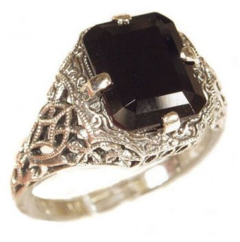 Antique Style Filigree 9x7mm Emerald / Cushion Shaped Ring Setting