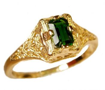 Antique Style Filigree 6x4mm Emerald Shaped Ring Setting