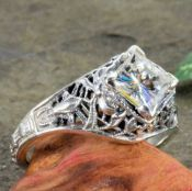 Antique Style Filigree 5.5x5.5mm Square Ring Setting
