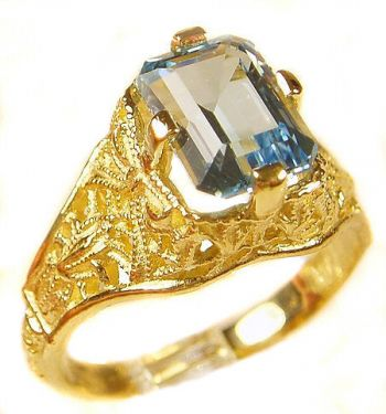 Antique Style Filigree 8x6mm Emerald Cut Ring Setting