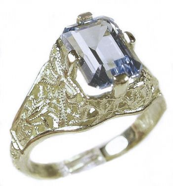 antique style sterling silver filigree 8x6mm emerald cut