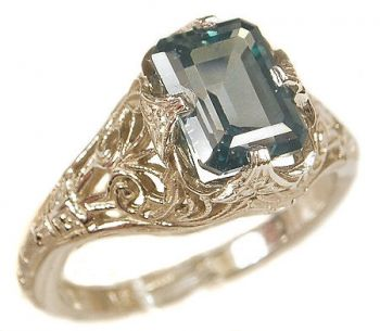 Antique Style Filigree 7x5mm Emerald Shaped Ring Setting