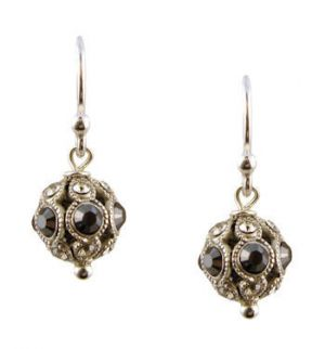 Vintage Style Encrusted Black & Clear Colored Crystal Ball Dangle Earrings
