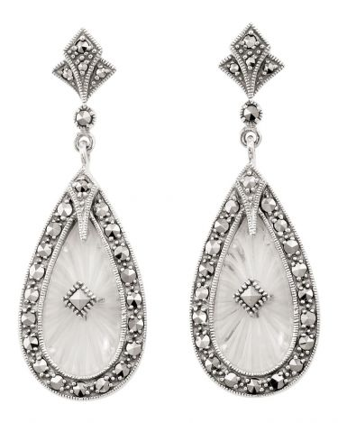 Art Deco Style Sunray Crystal & Marcasite Earrings in Sterling Silver