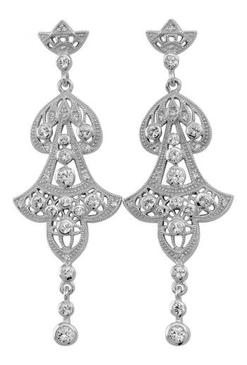Edwardian Style Filigree and Crystal Drop Earrings in Sterling Silver