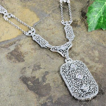 Antique Style Filigree Station Link Necklace with Cubic Zirconia in Sterling Silver