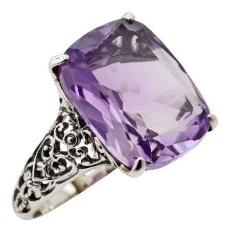 Antique Style Filigree Cushion Cut Amethyst Ring in Sterling Silver