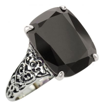 Antique Style Filigree Cushion Cut Black Onyx Ring in Sterling Silver