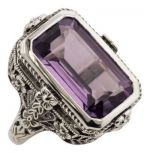 Antique Style Floral Filigree 5.5ct Amethyst Ring in Sterling Silver