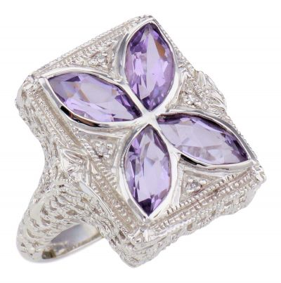 Art Deco Style Filigree Marquise Amethyst and Diamond Ring in Sterling Silver