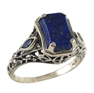 Art Deco Style Filigree Lapis Lazuli and Sapphire Ring in Sterling Silver