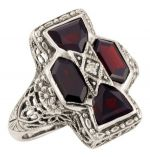 Art Deco Style Filigree Gemstone & Diamond Ring in Sterling Silver