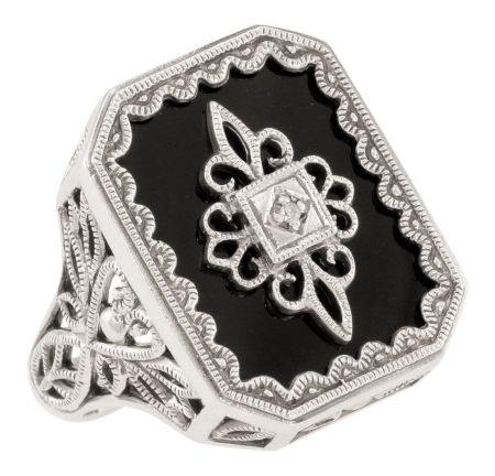 Art Deco Style Filigree Black Onyx and Diamond Ring in Sterling Silver