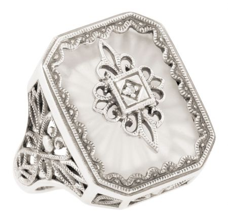 Art Deco Style Filigree Sunray Crystal and Diamond Ring in Sterling Silver