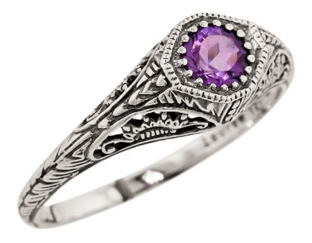 Antique Style Sterling Silver Filigree Gemstone Ring