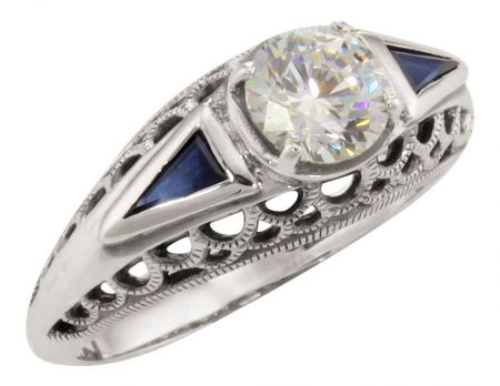 Art Deco Style Filigree 1.00ct CZ and Trillion Sapphire Ring in Sterling Silver