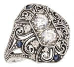 Art Deco Style Filigree Cubic Zirconia & Sapphire Ring in Sterling Silver