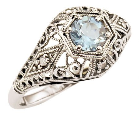 Antique Style Filigree Gemstone & Diamond Ring in Sterling Silver