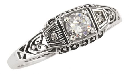 Antique Style Sterling Silver Filigree .25ct Cubic Zirconia & Diamond Ring