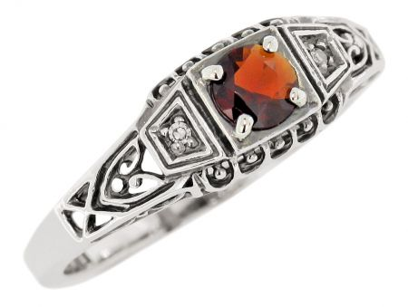 Antique Style Sterling Silver Filigree .35ct Garnet & DIamond Ring